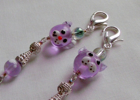 Lilac glass cat zipper pull - cat lovers bag charm - cat carrier - lamp work cat bead - cat paw charm clip - cat journal - Lizporiginals