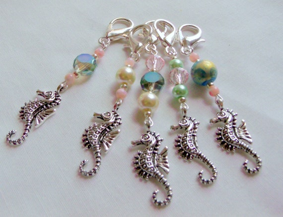 Beach wedding favors - Seahorse charms - party gifts - destination wedding - aqua journal - shower gifts - bag charm - Pearl bridal gifts