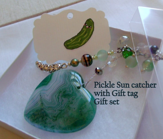 Agate gemstone heart ornament- pickle for christmas - silver pickles charm - Holiday gift set - for the pickle legend - tree decoration