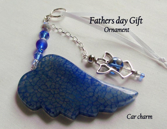 Fathers day gift - appreciation - for special dad - stepfather - custom birthday gift - blue wing ornament - green car and truck charm