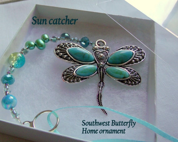 Turquoise butterfly sun catcher - southwestern home  - silver Butterfly gift  - dragonfly charm - garden decor - aqua beaded window ornament
