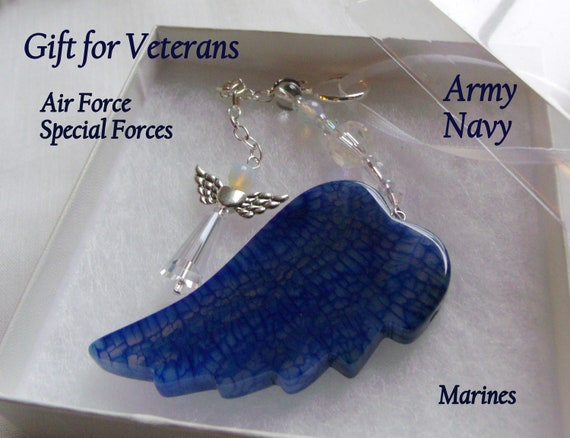 Custom gift for veterans - US army support - military soldier - special forces - air force -marines - gem protection charm - active duty