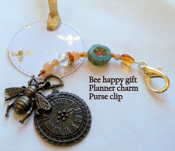 Timeless bee purse charm - journal charm for beekeeper - unique bronze clock with bee - flower garden zipper pull - planner clip - Bee happy