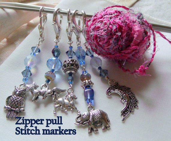 Blue stitch markers -  moon zipper pulls -  animal charms - journal clip  -  crochet accessory - knitting club gift - wild life - Elephant