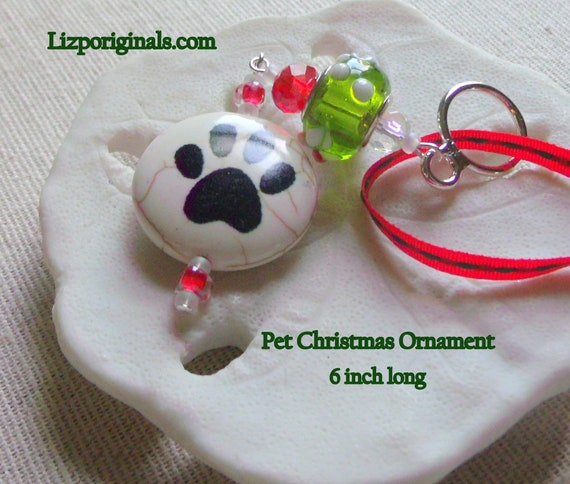 Dog Christmas Ornament - Dog Paw Tree Hanger -  Dog Ornament - Beaded  Dog Ornament -  Pet Christmas Gift - Holiday Tree pet decorations