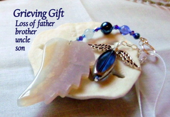 Loss of Father - Custom Sympathy memento - gem ornament - Condolence gift - blue memorial charm - brother - husband - car angel charm