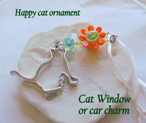 Large  Cat charm ornament - pet home decorations - rear view mirror charm - car accessory - I love my cat gift - orange flower  - Birthday