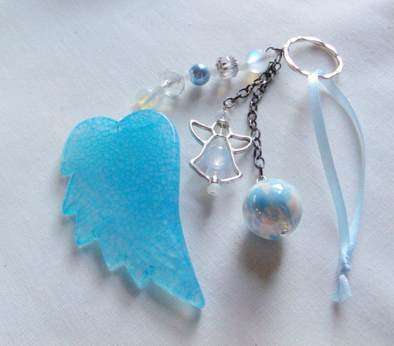 Custom baby boy gift - nursery wall hanging - protect my baby - angel wing charm - blue baby gift - new baby - adoption present - new mom