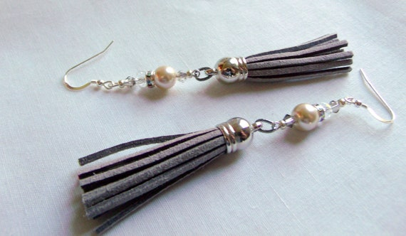 Tassel pearl leather earrings - long dangle jewelry - taupe colored fringe - crystal and pearl earrings - boho style - light weight design