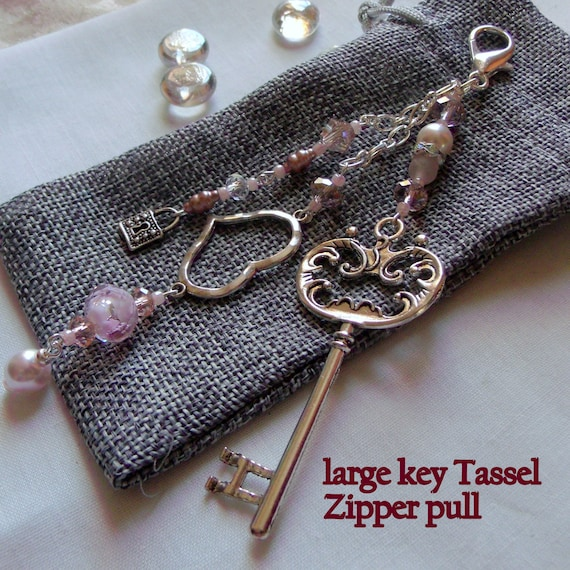 Silver key zipper pull - on her wedding day gift -  pink key charm zipper pull -  crystal bridal gift - cottage chic wedding accessory