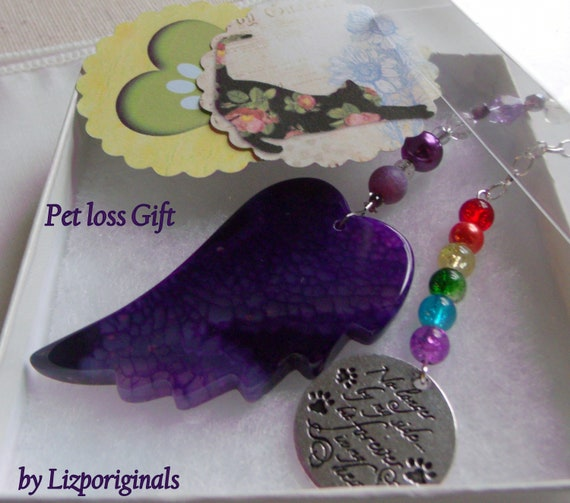 Pet loss gift - purple angel wing - agate pendant - Pet Sympathy gift - memento - Dog/cat loss - memorial - cherish your dog - gift box set