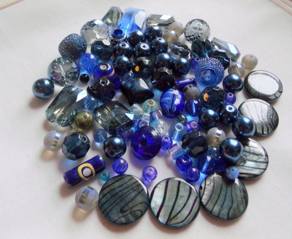 Mixed bead grab bag - blue beads - glass/ shell beads -  bead soup - jewelry making - dark blue beads