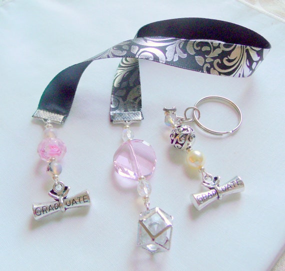 Custom graduation gift set - college - High school grads - ribbon bookmark - pink key chain gift - scroll - car charm - decoration