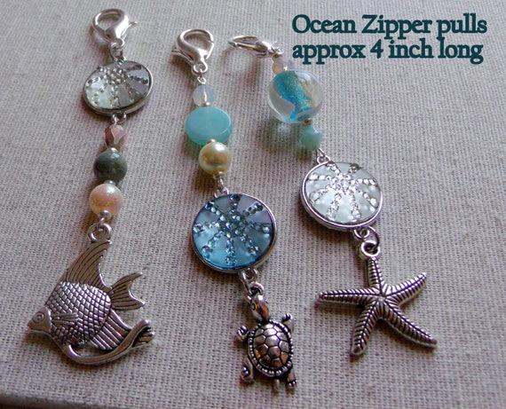 Ocean themed zipper pulls - Little Mermaid tail charm - glitter  - Aquarium - aqua beads - fantasy - fish - turtle  -  Student gift