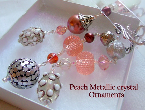 Pale peach ornaments -  gold brush dot beads - cottage charm tassel gift - Shell Christmas gift -  Beach /Coastal decor - unique seahorse