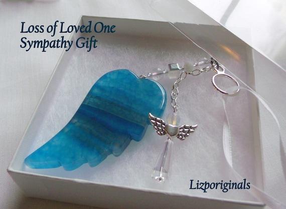 Loss of grandmother - nana sympathy gift - Grand daddy gift - grandparents memento - condolence gift - aqua agate wing - angel car charm