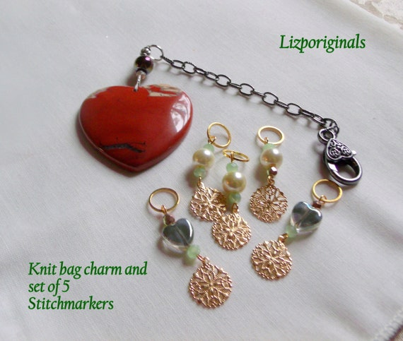 Knitting gift for women - red jasper heart bag charm - for project bag - set/5 snowflake stitch markers - adjustable - pearl place minders