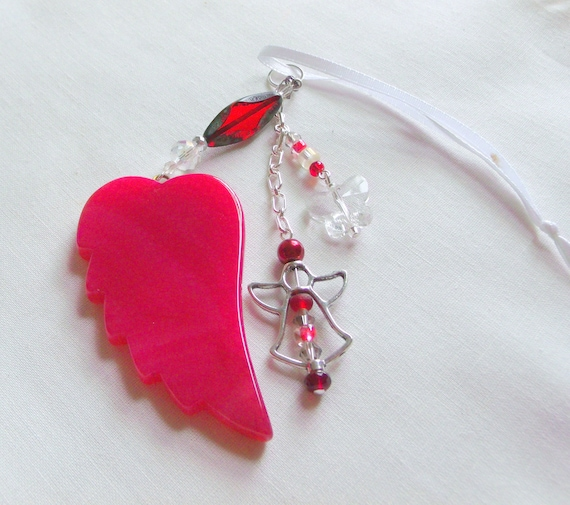 Memory grief gift - Custom Sympathy memento - red angel wing ornament - car charm - funeral - cremation shrine - mourning gift