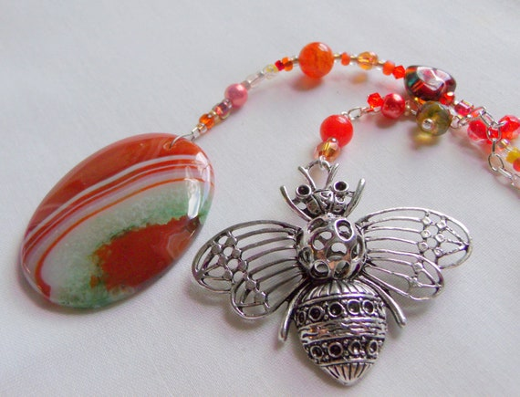 Large bee window pendant - kitchen charm - Honey bee sun catcher -  hanging garden art - queen bee gift -  for bee keeper - orange agate gem