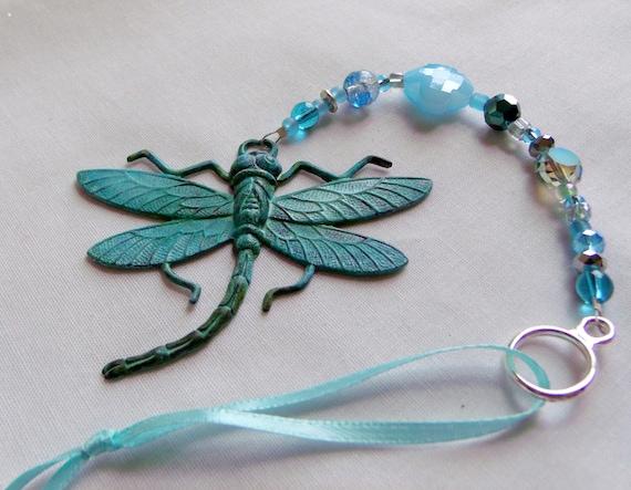 Dragonfly sun catcher - garden ornament - winged metal insect - copper brass gazebo decorations - lamp work hearts - Verdigris brass Gift
