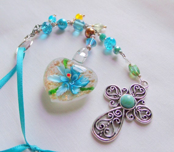 Faith gift - first Communion - Confirmation sponsor gift - aqua  window ornament - Murano glass flower heart - turquoise cross pendant