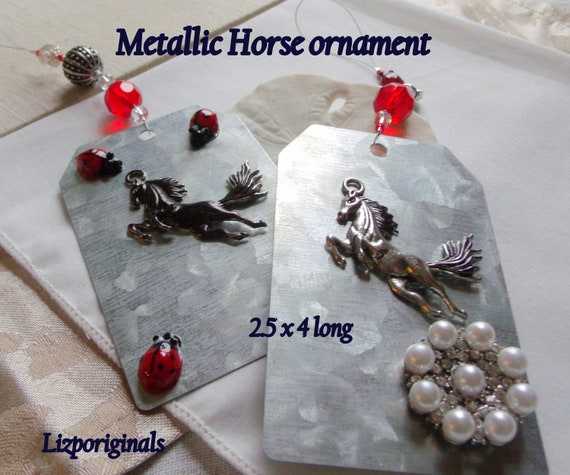 Horse ornament - metal gift tag - country cottage chic - wild horse charm - stallion - mustang holiday gift - girls riding - equestrian