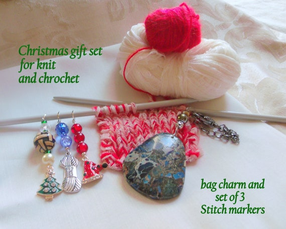 Christmas gift set for knitter - stitch markers - blue gem bag charm - for yarn bag - crochet project clip - adjustable zip pull - for women