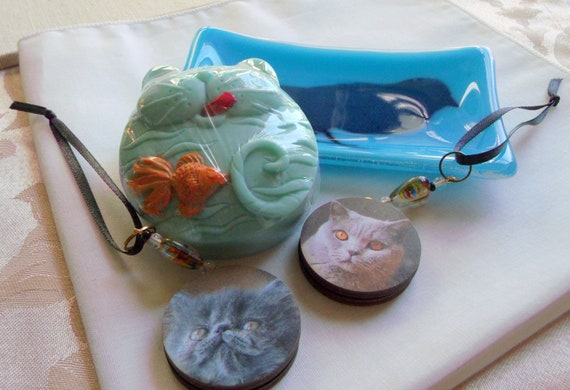 Cat mom gift set - Birthday gift box - cat soap - cat ornaments - for cat lovers - fused glass bird trinket dish - sun catcher - bag charm