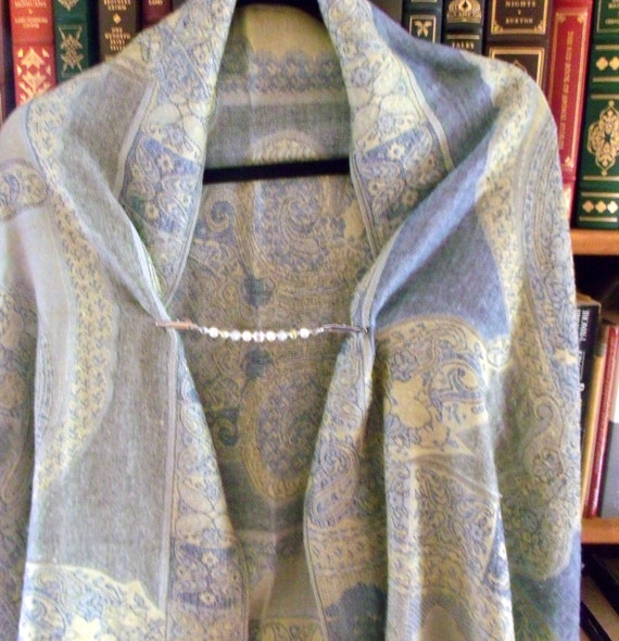"6 "" Sweater or Shawl clip with elegant multi-faceted crystals and pearl - sweater guard clip - cardigan - spring scarf  - openwork silver"