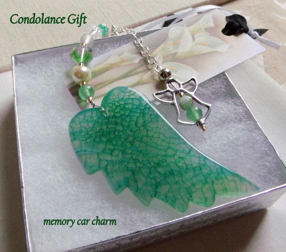 Custom grief gift - sympathy memento - Memory - Angel ornament - family loss - memorial - funeral - grave décor -  green gem car angel charm