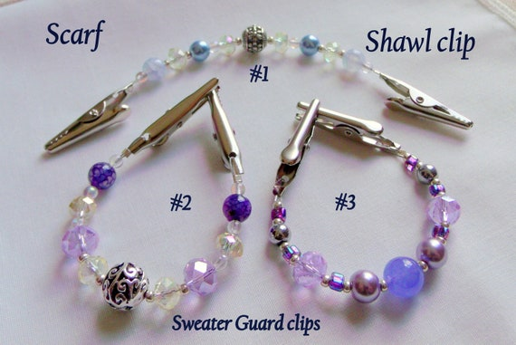 "6 "" Sweater or Shawl clip with elegant multi-faceted crystals and pearl - Easter spring gift - cardigan - sweater guard - openwork silver"