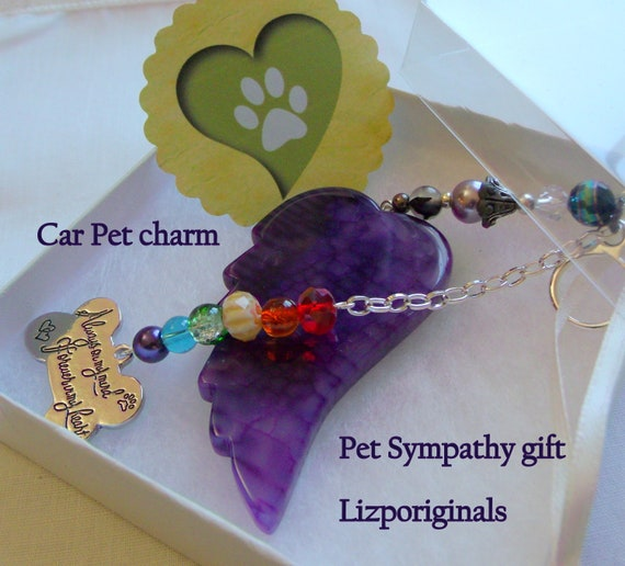 Pet loss gift - purple angel wing ornament -  wings of hope - pet memorial gift - personalize - agate pendant - for window - bone car charm
