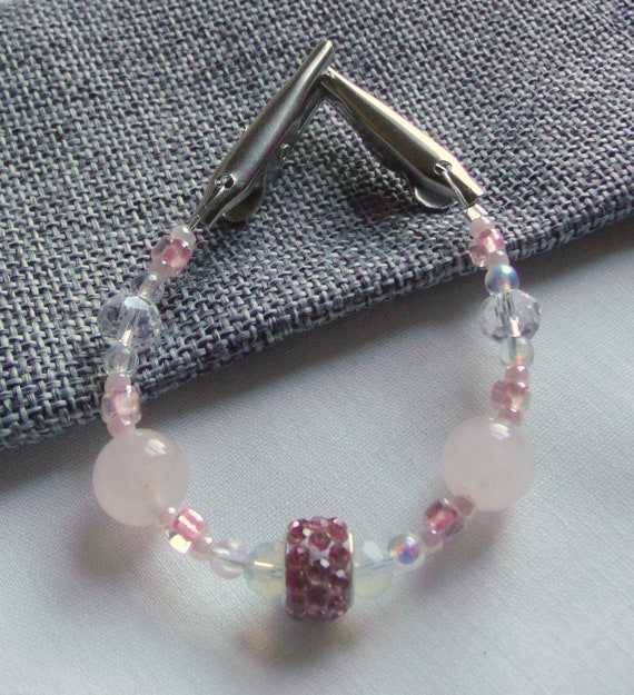 """6 """" Sweater or Shawl clip with elegant multi-faceted crystals - rose quartz beads - sweater guard -  Pashmina clip - 7 """" pink scarf clip"""