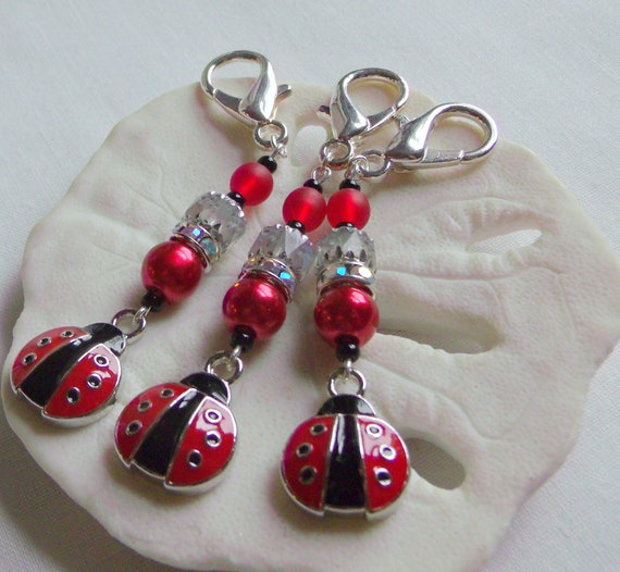Ladybug zipper charms - garden party favors - charity event treats - gift bag clips - red ladybug charms - for birthdays - red journal gift