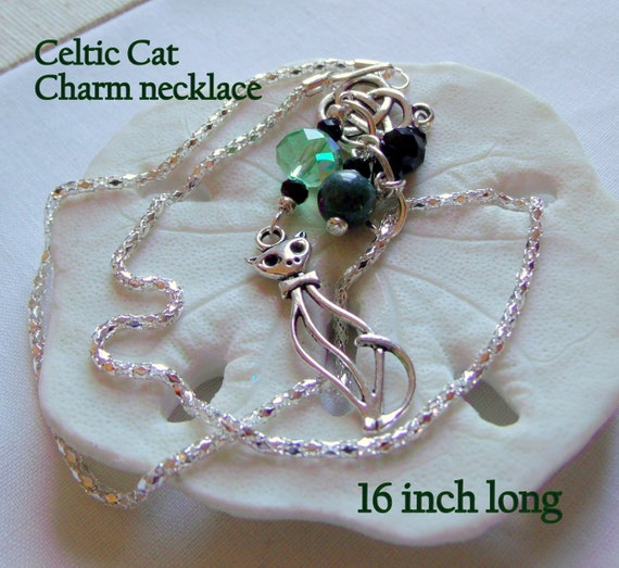 Celtic cat necklace - unique green tassel necklace - Celtic knot charm -