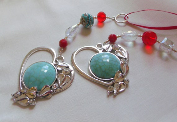 Turquoise silver heart ornament - Arizona gift - love token - window decoration - car charm - home and tree hangers - red sun catcher charm