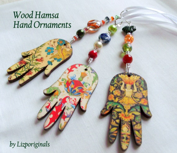 Colorful Wood Hamsa car charm - rear view mirror - spiritual Passover Gift - Exotic Hanging Hamsa - hand of Fatima - Journal /Yoga / Namaste