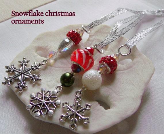 Set of 3 Santa ornaments - Miniature Christmas ornaments -  gift favors - red basket - candy cane bead - snowflake charms -  Lizporiginals
