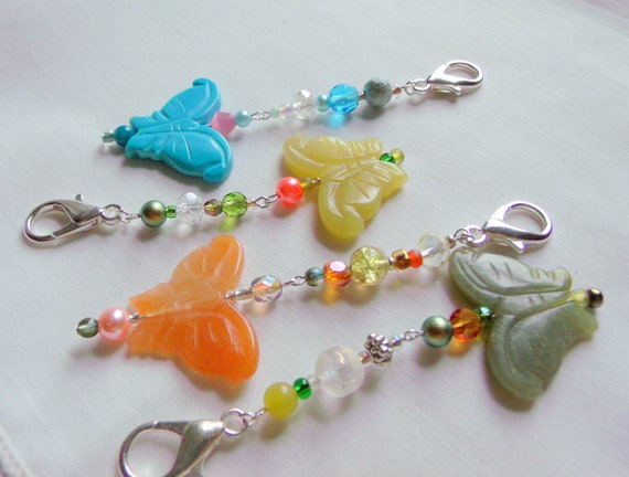 Set of 5 mixed Butterfly zipper pulls - garden party favors - baby shower gifts - garden club - gemstone bag charms - winged insects