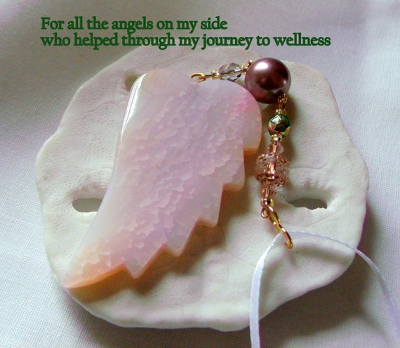 Breast cancer gift - Breast cancer survivor fundraiser gift -  Pink Angel wing gemstone - cancer ribbon charm - Breast cancer support - Walk