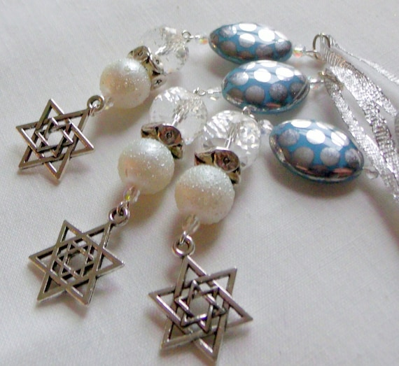 Hanukkah crystal gift set - for jewish holidays - blue party favors - Jewish holiday - star of David charm - car charm - chanukkah ornament