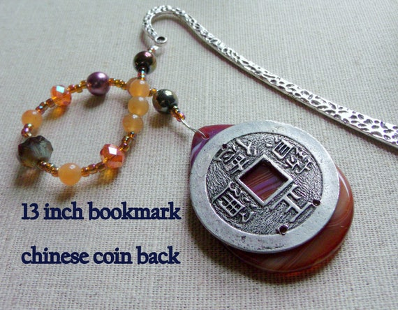 gemstone bookmark - book accessory gift -  - for readers - Orange gemstone bookmark -  Chinese new year gift - metal gem page marker - Gift