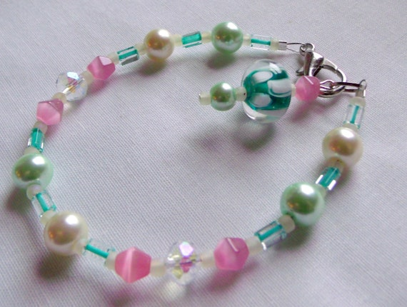 Spring candle ring - Easter candle garland - pink green aqua candle bling - bright beaded candle gift - 8 inch long - candle wrap - decor