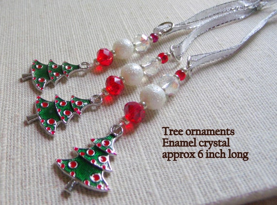 Enamel Tree ornaments - Charming tree decor -  beaded Christmas ornaments - Stocking Stuffers - First Christmas gift -  Lizporiginals