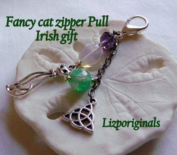 Fancy irish cat charm zipper pulls - purse clip celtic symbol - green agate purple bead cat travel charm - irish good luck gift -celtic Knot