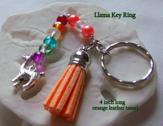 Llama Zipper pull / key chain -  journal charm with animal  - rainbow tassel design - leather tassel - back to school gift - Llama key ring
