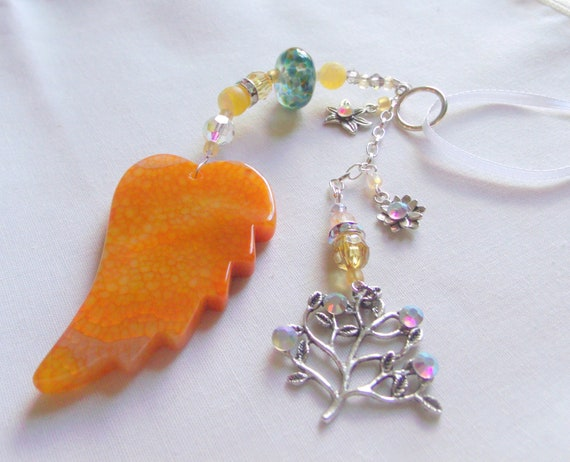 Custom Arborist gift - bright yellow garden pendant - window ornament - angel wing - patio decorations - tree charm - sun catcher
