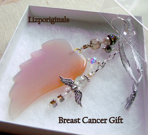 Breast cancer gift -  Agate wing ornament - For the Cure - Nurse gift - Breast cancer survivor - fundraiser gift - Angel  wing gemstone