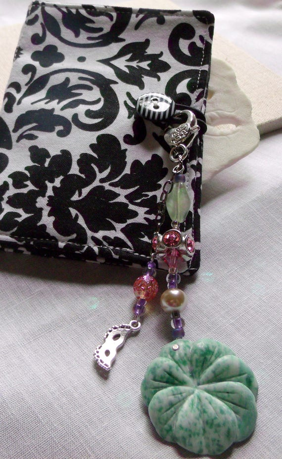 Gem flower zipper pulls - green white Ching Hai jade - tranquility gift - yoga accessory - journal - wristlet - tote clip  - silver charms