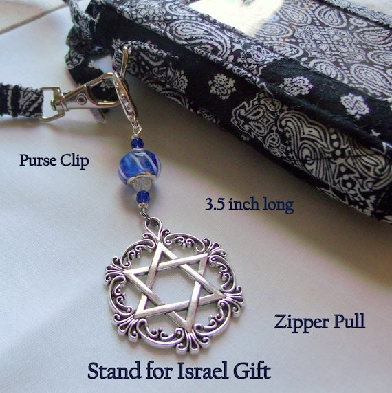 Stand for Israel purse clip - Jewish holiday gift set -  Judaica  -  Holocaust memento  - Filigree Star of David charm -  blue Journal charm